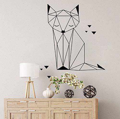 Geométrica zorro origami gato triángulos etiqueta de la pared vivero niños dibujos animados selva animal zorro pared calcomanía dormitorio vinilo decoración del hogar 45 cm alto x 38 cm de ancho