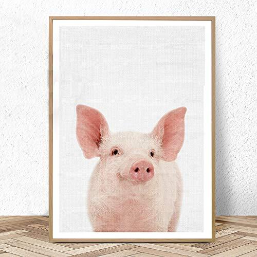 CNHNWJ kinderkamer muurkunst canvas schilderij gebruikelijk dier varken print decoratie baby foto's baby kinderen slaapkamer decoratie (50x70cmx1 / geen lijst)