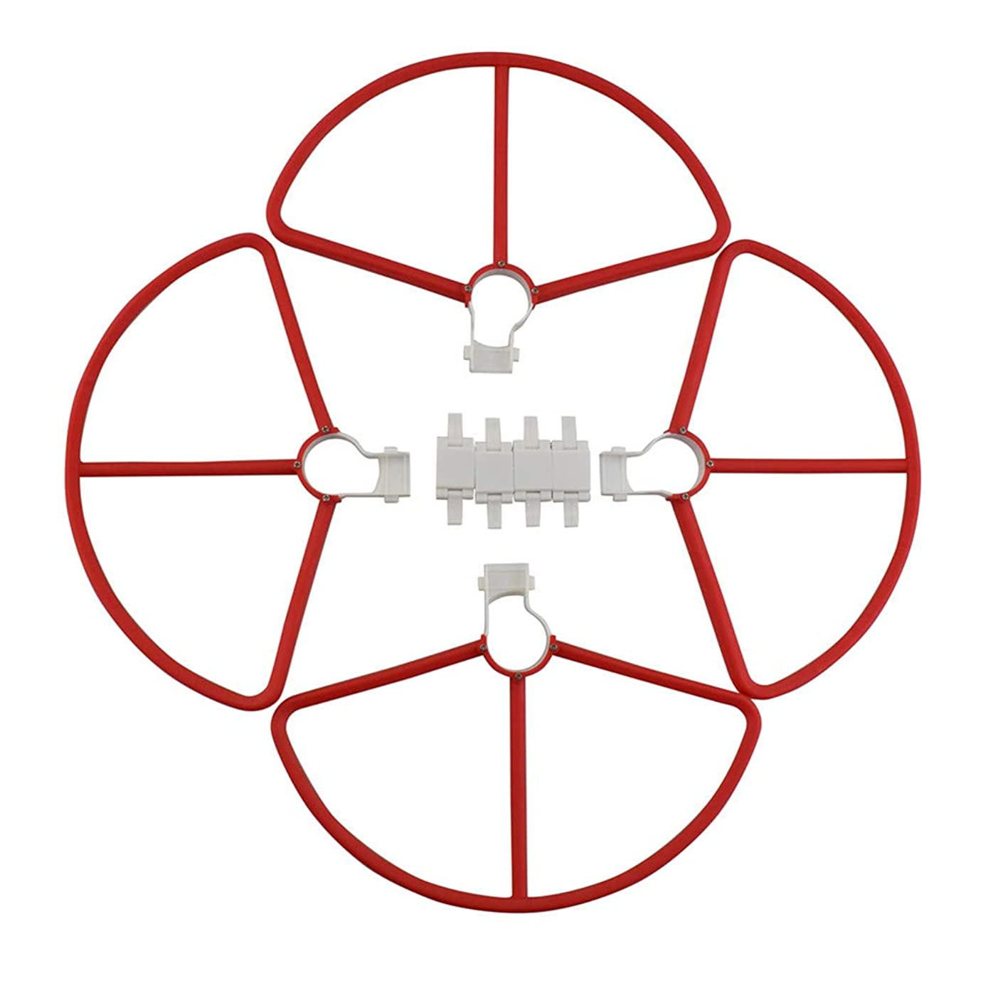 Chercherr Drone Replacement Propeller Set, 4PCS Quick Release Protective Cover+ 4PCS Fasteners for Hubsan Zino H117S Drone Accessories (Red)