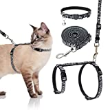 SCENEREAL Cat Harness with Leash and Collar Set - Escape Proof Harness and Collar for Walking Outdoor Zebra Strpe