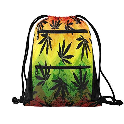 No/Brand RXYY Marihuana Hoja Geométrica Cordón Bolsa de Gimnasio con Bolsillo con Cremallera Mochila de Cinch Mochila Deportiva Mochila de Viaje Yoga para Hombres Mujeres Niños Niñas