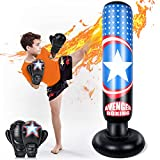 MutoToy Inflatable Punching Bag for Kids, 64 Inch Fitness Boxing Bag Stand with Gloves for Kids&Adults, Toys Age 3+ Gift for Kids