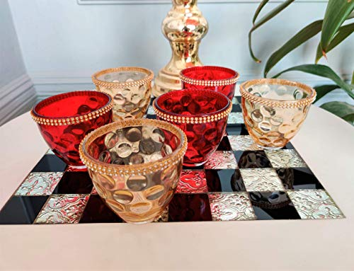 CURIO CRAFTS Red & Gold Glass Votive Candle Holders (Set of 6) - Tealight Candle Holders for Home Decor, Occasions & Table Centerpieces