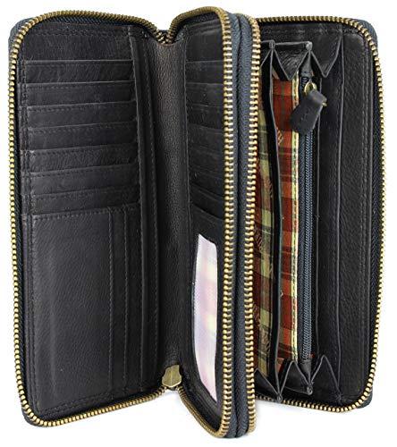Hill Burry hochwertige XXL Vintage Leder Damen Geldbörse Portemonnaie langes Portmonee Geldbeutel Organizer aus weichem Leder mit extra vielen Fächern inkl. RFID in schwarz - 20x11x3,5cm (B x H x T)