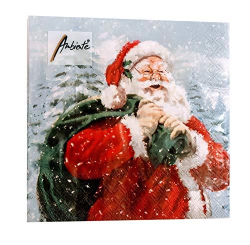 20-ct (Possibly 40) Santa Napkins | Christmas Paper Napkins | Christmas Napkins Paper | Christmas Cocktail Napkins | Decorative Paper Napkins for Decoupage | Christmas Dinner Napkins Lunch