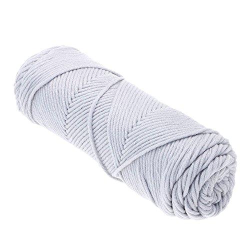 HuntGold 1Pc Crochet Tricot à la Main Bébé Fils de Laine à Tricoter pour Écharpe Châle(Gris argenté)