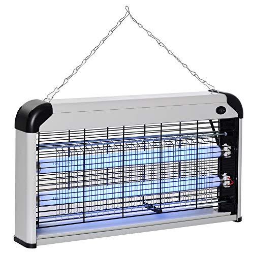 Outsunny Elettroinsetticida da Esterno e Interno con Lampada Antizanzare LED per 60m², Zanzariera Elettrica 30W Argento