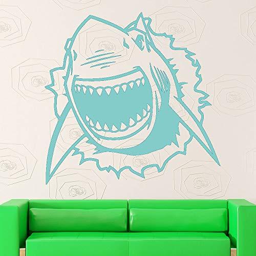 Shark Wandaufkleber Ozean Vinyl Wandtattoo Liing Room Marine Riss Room Decor Baby Boy Kinderzimmer...