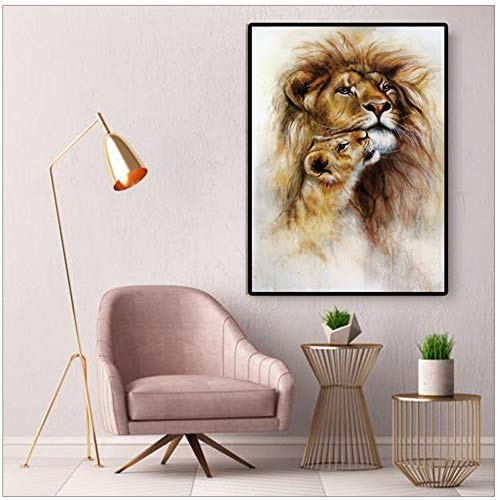 LIPENGYU Druck auf Leinwand Tierbilder Löwen Poster Und Drucke Leinwand Malerei Moderne Dekorative Malerei Wandkunst Für Wohnzimmer 40x60 cm x 1 stücke Kein Rahmen
