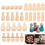 30 Pezzi Bambole Giocattolo di Legno,Mini Bambole Gente di Legno Decorazioni,Peg Doll Legn...