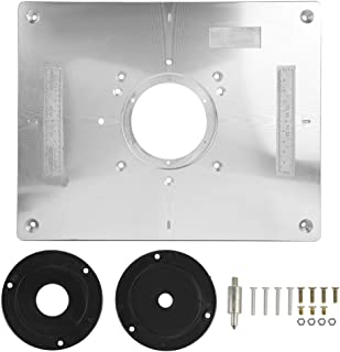 Zerodis Aluminum Alloy Router Table Insert Plate with Plastic Router Insertion Ring and Install Screws for Woodworking Bench, 300mm x 235mm x 9.5mm