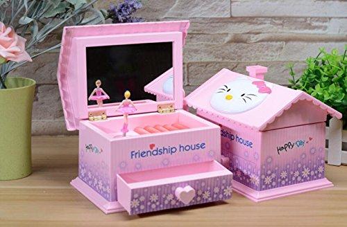 Sun Hero Caja de Música giratoria Girl Dress de la casa de la Amistad con el Espejo de Maquillaje para Gift-Pink: Amazon.es: Juguetes y juegos