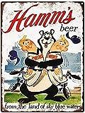 PaBoe Hamms Beer Bear Twins 8x12 Vintage Retro Tin Metal Sign Wall Decor