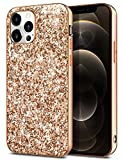 Coolden Kompatibel mit iPhone 12 Pro Max Hülle 6.7 Zoll Handyhülle Schlank Glitzer Sparkle Stoßfest Schutzhülle Kompatibel mit iPhone 12 Pro Max Bling Hülle Hybrid Hart PC Back TPU Bumper (Rose Gold)