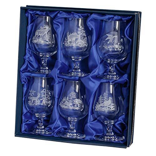 Waidjagd - Juego de 6 Vasos de chupito con diseño de Caza, Caza, Caza, Regalo de Caza, Muy Elegante
