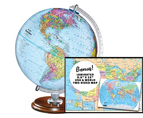 Replogle Student - Educational Classic World Globe, Blue Ocean, Raised Relief Feature, Including a Bonus map, Made in USA, 12'/30cm Diameter