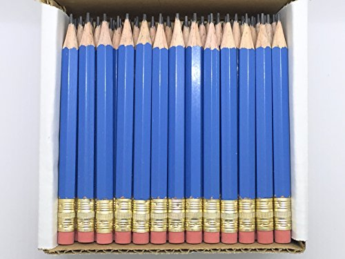 Half Pencils with Eraser - Golf, Classroom, Pew, Short, Mini, Non Toxic - Hexagon, Sharpened, 2 Pencil, Color - Blue, Box of 72 (half gross) Blue Golf Pocket Pencils