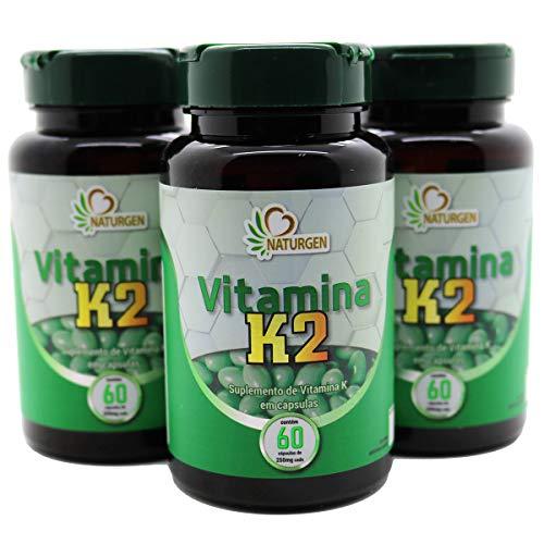 3 Potes Vitamina K2 Mk7 Menaquinona - Naturgen - 60 Capsulas