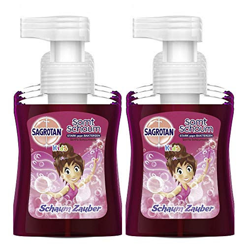 Sagrotan Kids Samt-Schaumseife Erdbeere – Antibakterielle Schaumseife mit farbigem Schaum – 6 x 250 ml Seifenspender