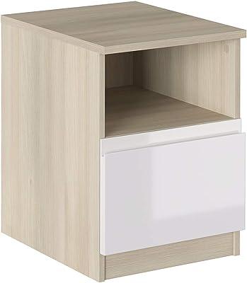 Iconico Home Table de Chevet avec Compartiment à Jour et tiroir avec glissières à roulettes, avec poignée intégrée
