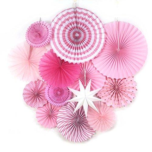 Sunbeauty Decoración Abanicos de Papel Baby Shower, 13 Piezas Rosa Ventilador de Papel con Estrellas Papel para Colgar Decoración de Pared para Cumpleaños Boda Carnaval Bebé Ducha Fiesta Suministros