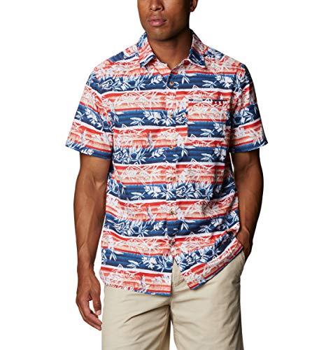 Columbia Super Slack Tide - Camisa de Campamento para Hombre, Hombre, Super Slack Tide - Camiseta de Campamento, 165376, Red Spark Ombre Fish Stripe, 3XL (Alto)
