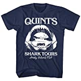Jaws Quints Shark Tours Men's T Shirt Amity Island Ocean Boat Danger Teeth Movie Navy Blue XL