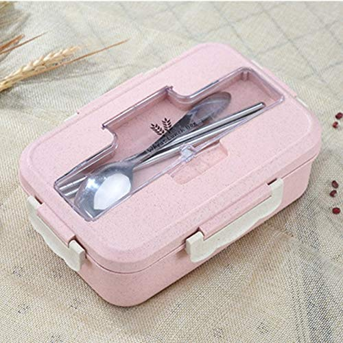 Fiambrera a Prueba de Fugas Compartimentos Separados Escuela para niños Caja Bento Recipiente de Comida Vajilla para microondas Fiambrera para niños - Y45-Pink