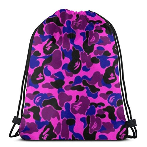 Estrange Bape Camo Wallpaper Graduated 3D Print Drawstring Backpack Rucksack Shoulder Bags Gym Bag for Adult 16.9