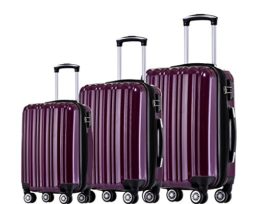 Münicase TSA-Schloß Koffer Reisekoffer Trolley Kofferset (Violett, 3tlg. Kofferset)
