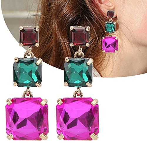 Pendientes colgantes cuadrados, pendientes colgantes de aleación, mano de obra fina, gran regalo para mujeres, joyería de moda(color)