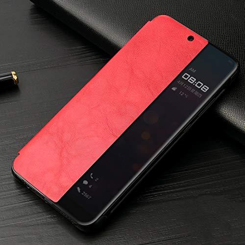 Conciso, conveniente, duradero Fierre Shann caballo loco Textura horizontal del tirón de la caja de cuero for Huawei P20, con Smart ventana de la vista y del sueño despertar de la función, simple y el