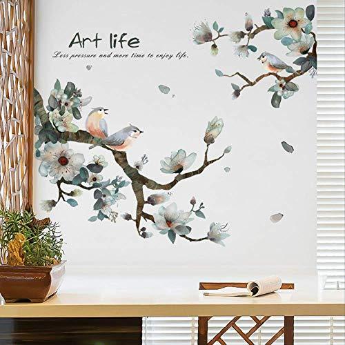 muurstickers,Vintage Inkt Schilderij Vogel Op De Tak Bloem Muurstickers, Voor Woonkamer Diy Tv Achtergrond Wanddecoraties Kunst Behang 60 * 100cm A