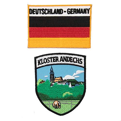 A-ONE 2 Stück Packung - Luxemburg Andechs Mondechs Wappen Patch + Deutschland Flagge Patch Bunte Stoffdekorationen für Kleidung durch Bügeln, Nähen oder Aufkleben