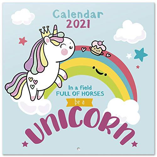 Grupo Erik CP21034 - Calendario de pared 2021 Unicornio, 30x30 cm