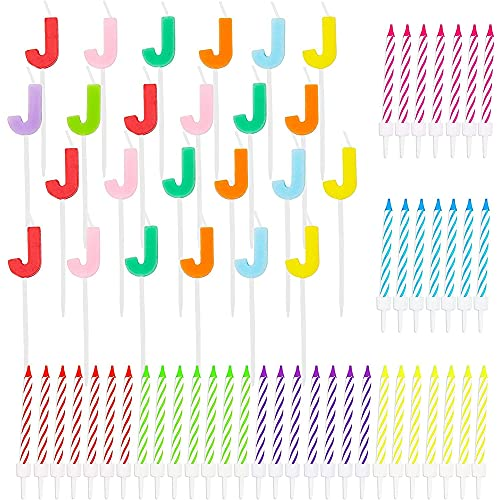 Letter J Birthday Cake Candles Set With Holders (96 Pack)
