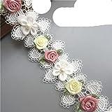 Poliéster soluble 3D Flores de colores Perlas Bordadas Encaje Borde Cinta Tela Artesanía de costura hecha a mano para disfraz Sombrero Decoración-A181