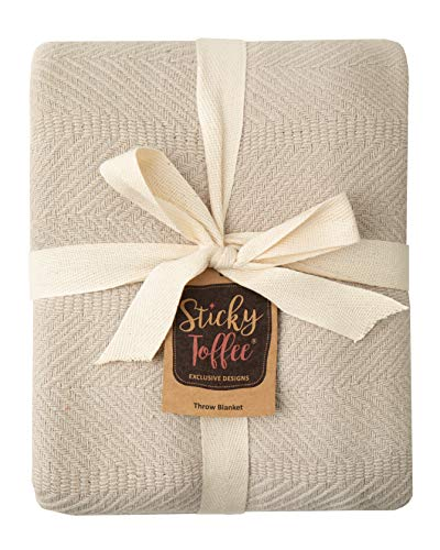 Sticky Toffee Woven Cotton Lightweight Throw Blanket | Warm and Soft Blanket for Couch Sofa and Bed | Tan | 60 in x 50 in