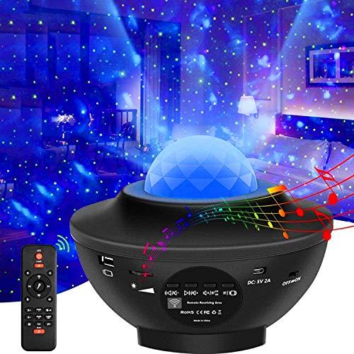 LEDSternenhimmelProjektor,Sternenprojektor Delicacy Rotierende Wasserwellen Nachtlichter, Ferngesteuerte Projektionslampe,Farbwechselnder Musikplayer mit Bluetooth und Timer,für Kinderzimmer, Partys