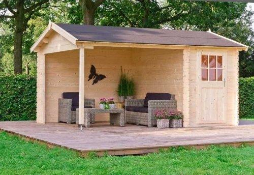 Outdoor Gartenhaus / 2-Raum-Blockbohlenhaus Wibo 300