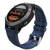 MoKo Armband für Fenix 6 / Fenix 6 Pro/Fenix 5 / Forerunner 935 Sportuhr, Silikon Sportarmband Uhr Band Strap Ersatzarmband Uhrenarmband, Armbandlänge 135mm-225mm - Mitternachtsblau