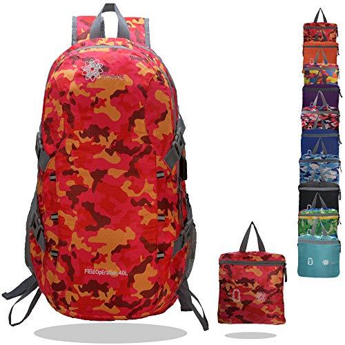 MORABI 40L Lightweight Hiking Camping Backpack (Orange Camouflage)