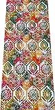 Alfombra de Pasillo de Poliester | Base PVC Antideslizante y Aislante Diseño Mandala Floral (57_x_200_cm)