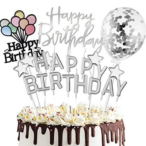 Sunshine smile Happy Birthday Cake Topper, Tortendeko Geburtstag, Konfetti Luftballon Kuchendeko, Tortendeko Kerzen Sterne, Tortenstecker, Tortenaufsatz, Kuchendekoration Geburtstag (Silber)