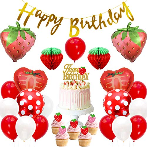 JOYMEMO Strawberry Theme Birthday Party Decoration Set for Girls, Paper Honeycomb Ball, Happy Birthday Banner Foil Balloons, Cake Toppers