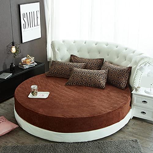 CYYyang Protector de colchón/Cubre colchón Acolchado, Ajustable y antiácaros. Falda de Cama Redonda Felpa-marrón_2m