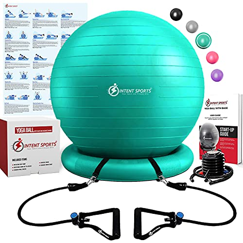 INTENT SPORTS Ball with Base, Exercise Balance Ball (Mint Green)