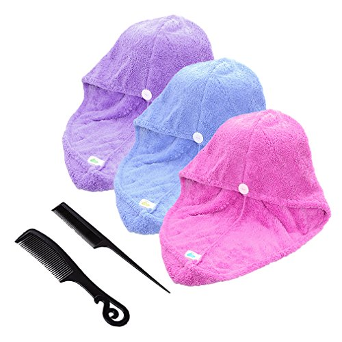 3er-Pack Large Mikrofaser Absorbent Haar Turban Haarpunzel Haartrockentuch Handtuch Kopftuch saugfähigen Tuch mit 3 Farben, 65x25cm