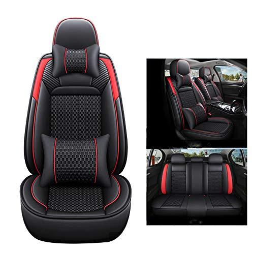 HRFHLHY Vorder- und Rücksitze 5 Sitzkissen, Schmutz-Beweis-Auto-Sitzbezüge, kompatibel mit Ford,Rot,Focus