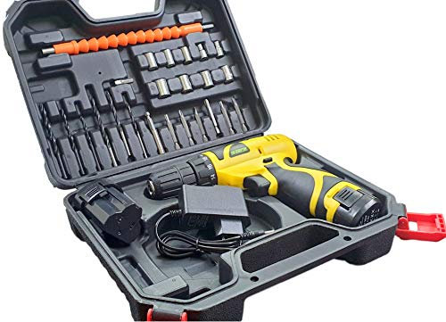 Cheston Cordless Drill Driver Kit with 24 Drilling Accessories and Screwdriver 10 mm Keyless Chuck with 2 Batteries LED Torch Reversible Variable Speed and Torque Setting (19 and 1, Yellow)